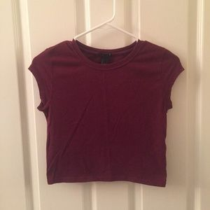 Forever 21 Maroon Crop Top Slim Fit